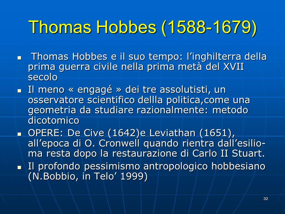 32 Thomas Hobbes (1588-1679) Thomas Hobbes e il suo tempo: linghilterra della prima guerra civile nella prima metà del XVII secolo Thomas Hobbes e il