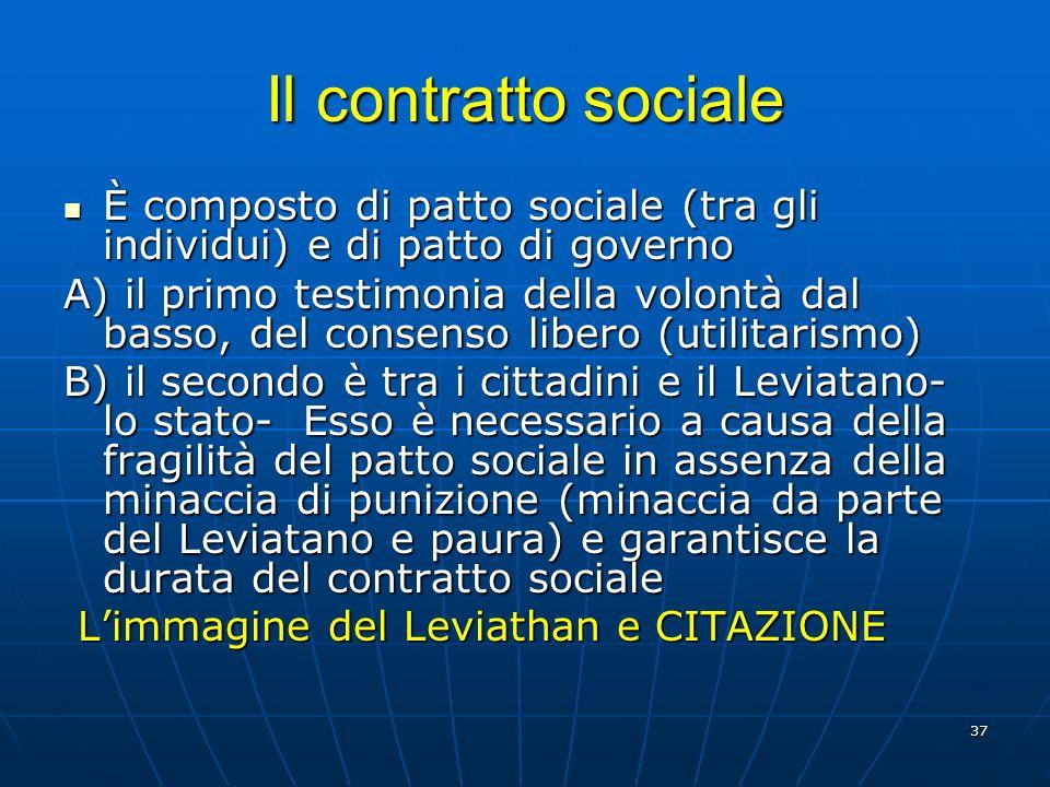 37 Il contratto sociale È composto di patto sociale (tra gli individui) e di patto di governo È composto di patto sociale (tra gli individui) e di pat