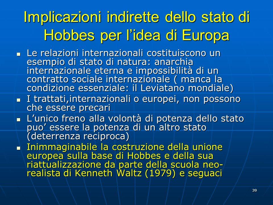 39 Implicazioni indirette dello stato di Hobbes per lidea di Europa Le relazioni internazionali costituiscono un esempio di stato di natura: anarchia