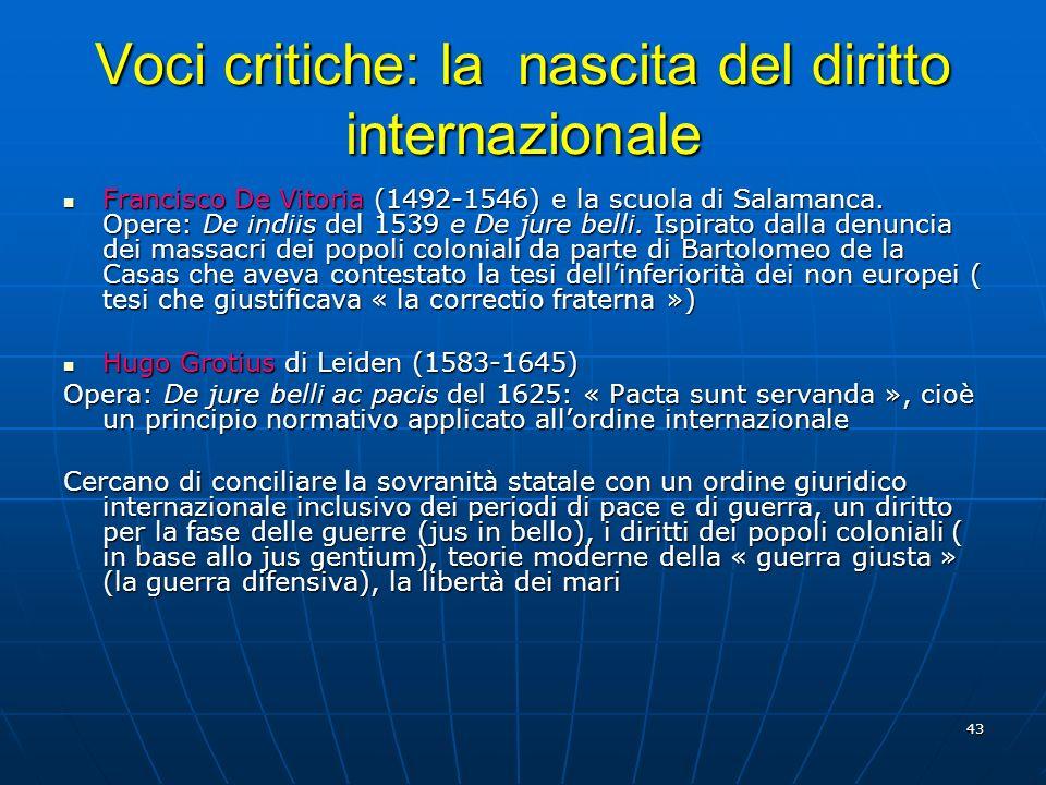 43 Voci critiche: la nascita del diritto internazionale Francisco De Vitoria (1492-1546) e la scuola di Salamanca. Opere: De indiis del 1539 e De jure