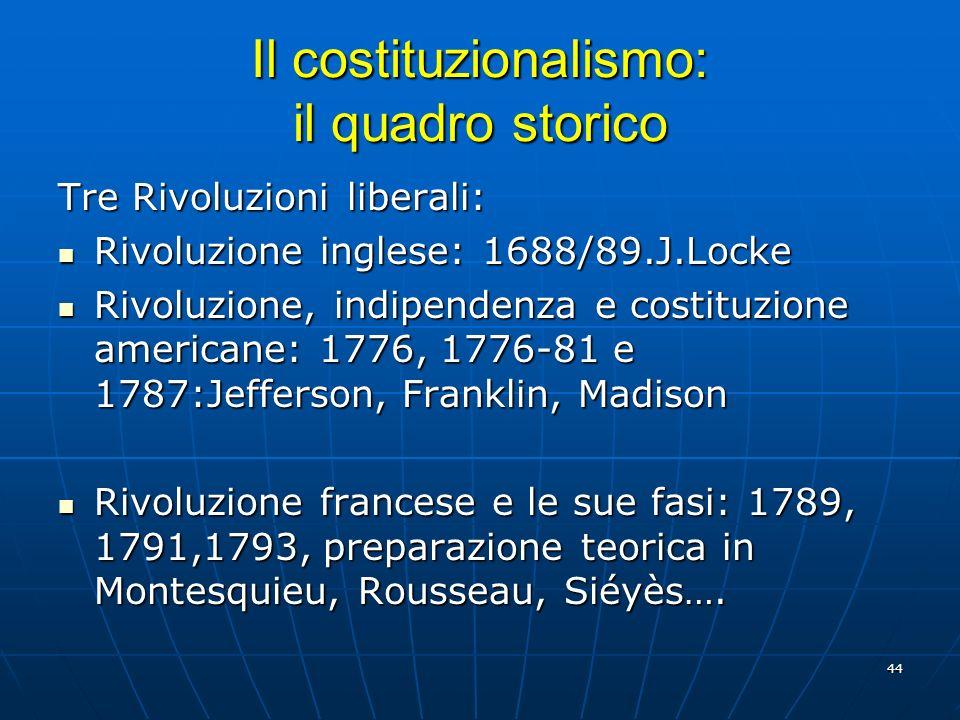44 Il costituzionalismo: il quadro storico Tre Rivoluzioni liberali: Rivoluzione inglese: 1688/89.J.Locke Rivoluzione inglese: 1688/89.J.Locke Rivoluz