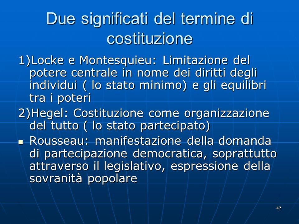 47 Due significati del termine di costituzione 1)Locke e Montesquieu: Limitazione del potere centrale in nome dei diritti degli individui ( lo stato m