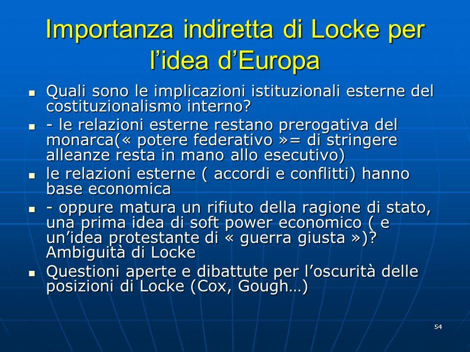 54 Importanza indiretta di Locke per lidea dEuropa Quali sono le implicazioni istituzionali esterne del costituzionalismo interno? Quali sono le impli