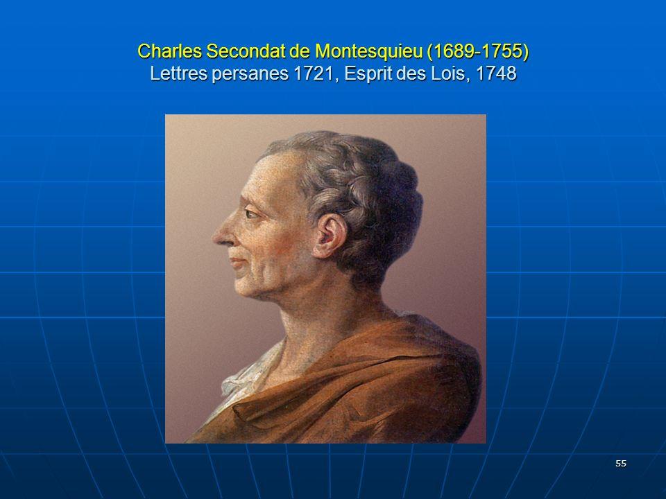 55 Charles Secondat de Montesquieu (1689-1755) Lettres persanes 1721, Esprit des Lois, 1748