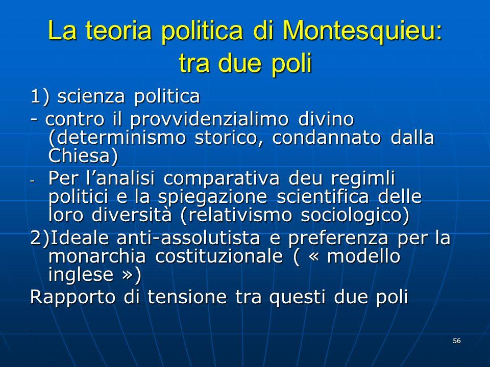 56 La teoria politica di Montesquieu: tra due poli 1) scienza politica - contro il provvidenzialimo divino (determinismo storico, condannato dalla Chi