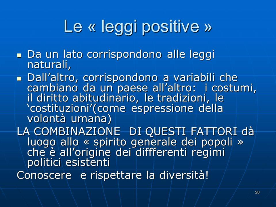 58 Le « leggi positive » Da un lato corrispondono alle leggi naturali, Da un lato corrispondono alle leggi naturali, Dallaltro, corrispondono a variab
