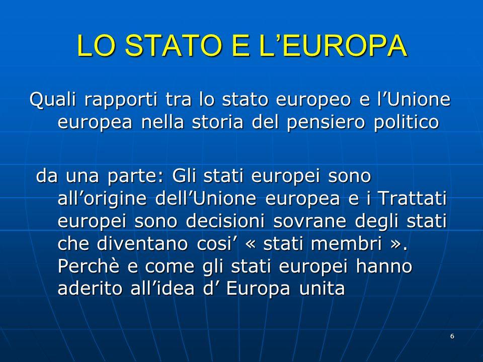 6 LO STATO E LEUROPA Quali rapporti tra lo stato europeo e lUnione europea nella storia del pensiero politico da una parte: Gli stati europei sono all