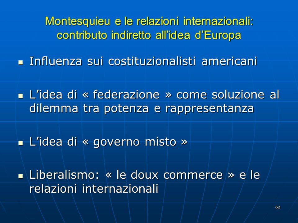 62 Montesquieu e le relazioni internazionali: contributo indiretto allidea dEuropa Influenza sui costituzionalisti americani Influenza sui costituzion