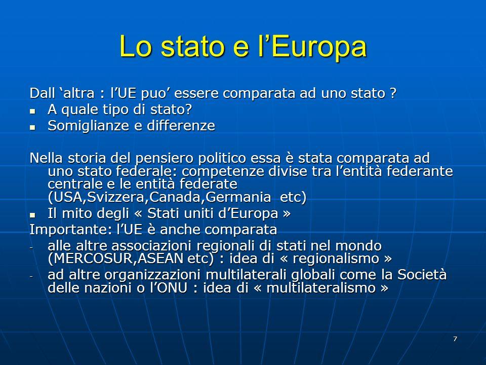 7 Lo stato e lEuropa Dall altra : lUE puo essere comparata ad uno stato ? A quale tipo di stato? A quale tipo di stato? Somiglianze e differenze Somig