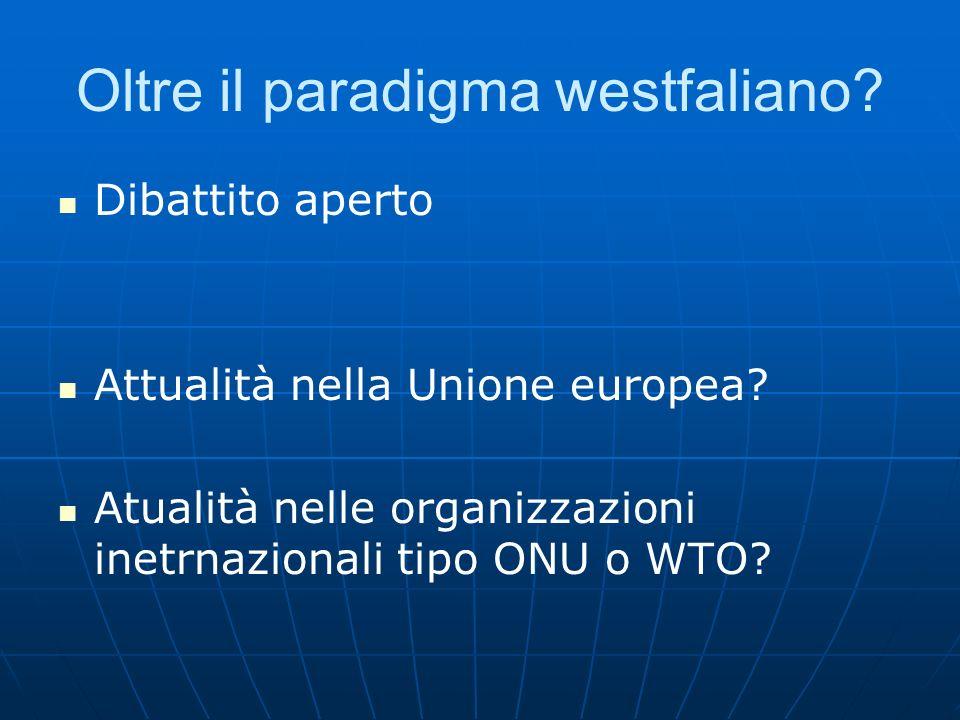 Oltre il paradigma westfaliano? Dibattito aperto Attualità nella Unione europea? Atualità nelle organizzazioni inetrnazionali tipo ONU o WTO?