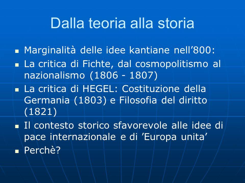 Dalla teoria alla storia Marginalità delle idee kantiane nell800: La critica di Fichte, dal cosmopolitismo al nazionalismo (1806 - 1807) La critica di