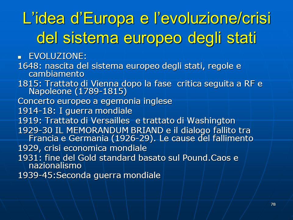 78 Lidea dEuropa e levoluzione/crisi del sistema europeo degli stati EVOLUZIONE: EVOLUZIONE: 1648: nascita del sistema europeo degli stati, regole e c