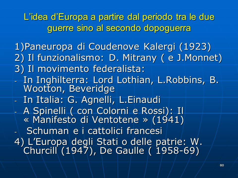 80 Lidea dEuropa a partire dal periodo tra le due guerre sino al secondo dopoguerra 1)Paneuropa di Coudenove Kalergi (1923) 2) Il funzionalismo: D. Mi