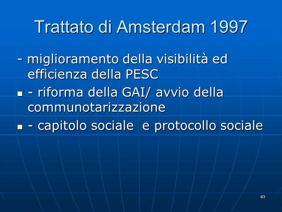 83 Trattato di Amsterdam 1997 - miglioramento della visibilità ed efficienza della PESC - riforma della GAI/ avvio della communotarizzazione - riforma