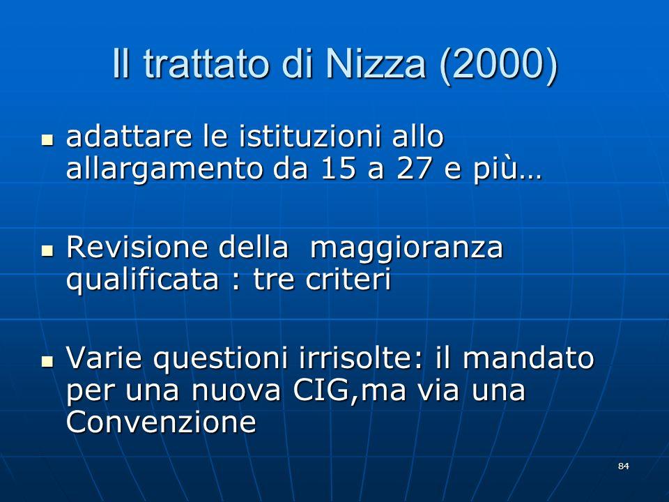84 Il trattato di Nizza (2000) adattare le istituzioni allo allargamento da 15 a 27 e più… adattare le istituzioni allo allargamento da 15 a 27 e più…