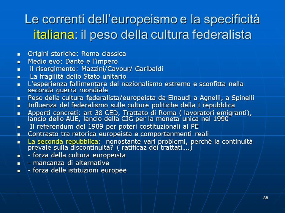 88 Le correnti delleuropeismo e la specificità italiana: il peso della cultura federalista Origini storiche: Roma classica Origini storiche: Roma clas