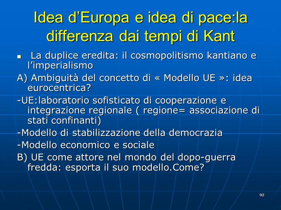 92 Idea dEuropa e idea di pace:la differenza dai tempi di Kant La duplice eredita: il cosmopolitismo kantiano e limperialismo La duplice eredita: il c