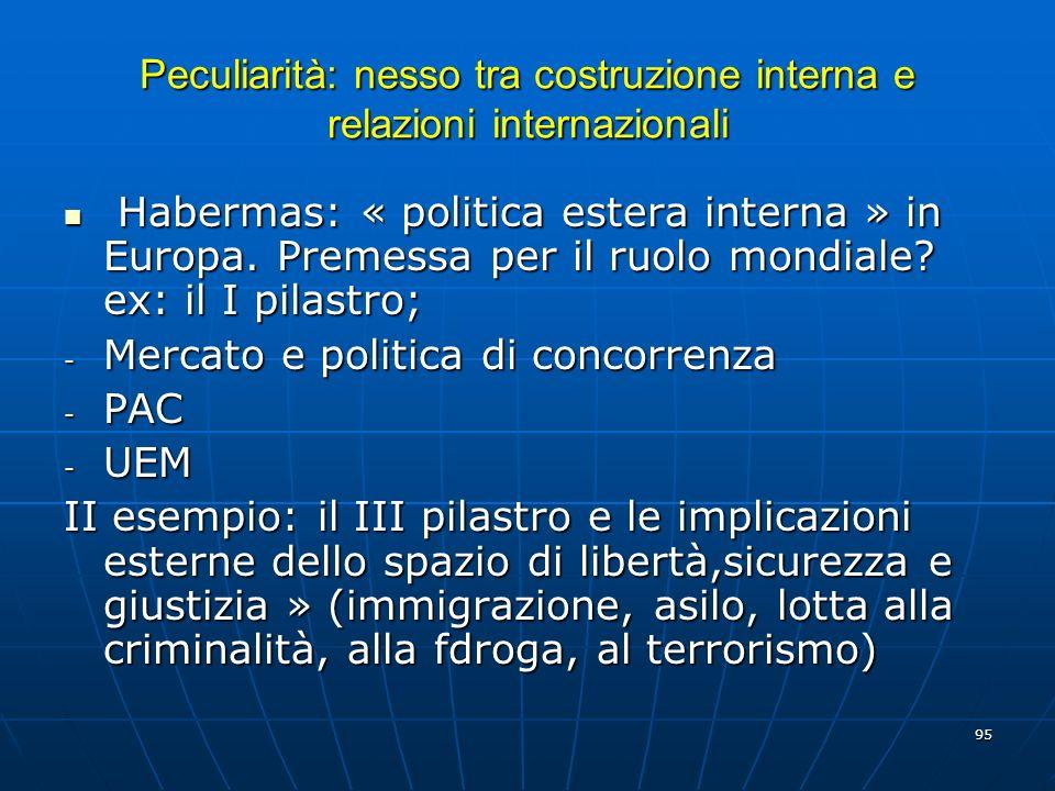95 Peculiarità: nesso tra costruzione interna e relazioni internazionali Habermas: « politica estera interna » in Europa. Premessa per il ruolo mondia