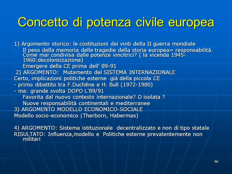 96 Concetto di potenza civile europea 1) Argomento storico: le costituzioni dei vinti della II guerra mondiale - Il peso della memoria delle tragedie