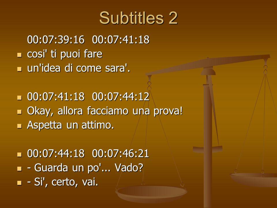 Subtitles 2 00:07:39:16 00:07:41:18 cosi' ti puoi fare cosi' ti puoi fare un'idea di come sara'. un'idea di come sara'. 00:07:41:18 00:07:44:12 00:07: