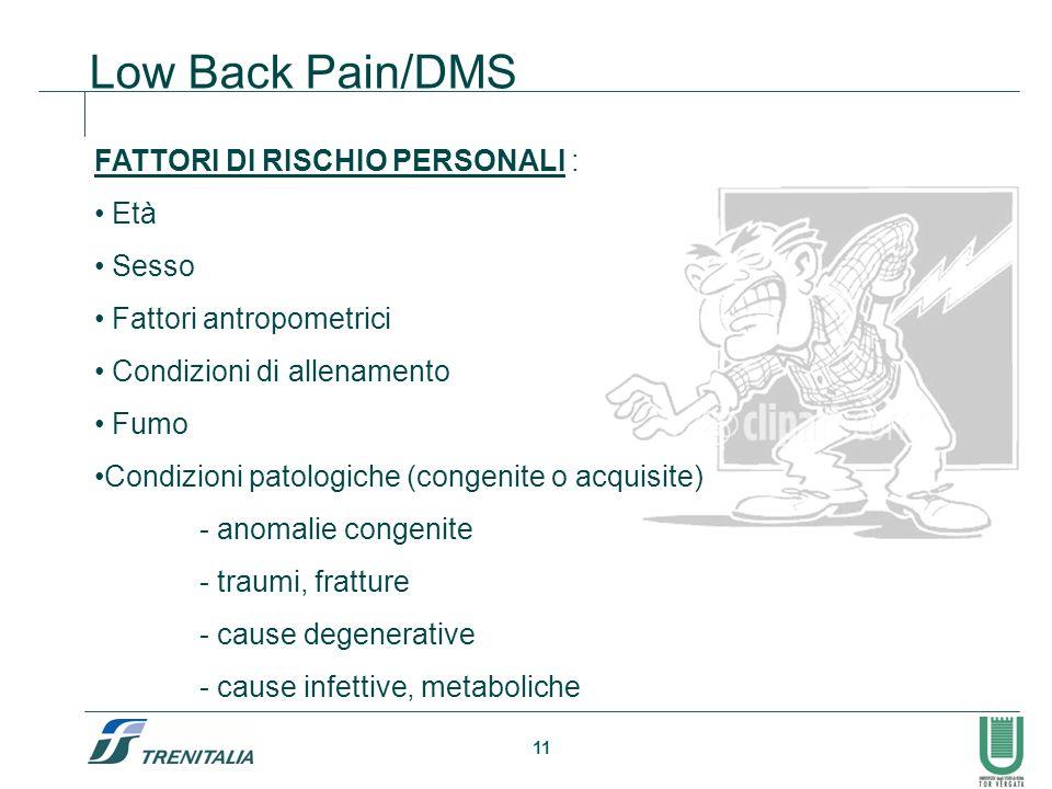 11 Low Back Pain/DMS FATTORI DI RISCHIO PERSONALI : Età Sesso Fattori antropometrici Condizioni di allenamento Fumo Condizioni patologiche (congenite