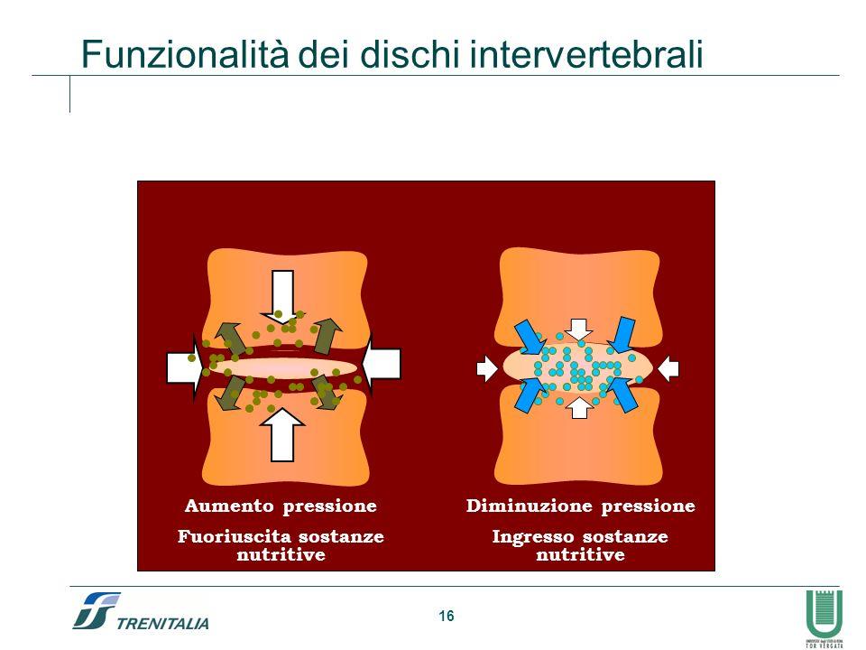 16 Funzionalità dei dischi intervertebrali Aumento pressione Fuoriuscita sostanze nutritive Diminuzione pressione Ingresso sostanze nutritive