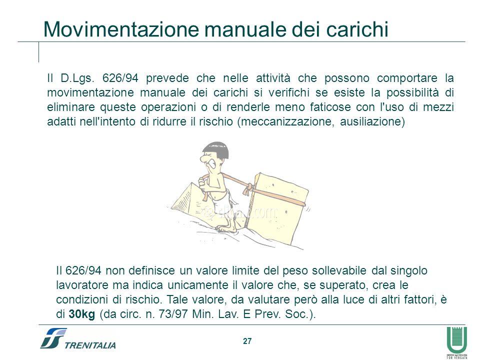 27 Il D.Lgs. 626/94 prevede che nelle attività che possono comportare la movimentazione manuale dei carichi si verifichi se esiste la possibilità di e