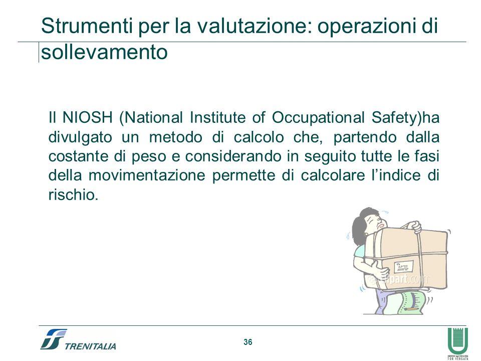 36 Il NIOSH (National Institute of Occupational Safety)ha divulgato un metodo di calcolo che, partendo dalla costante di peso e considerando in seguit