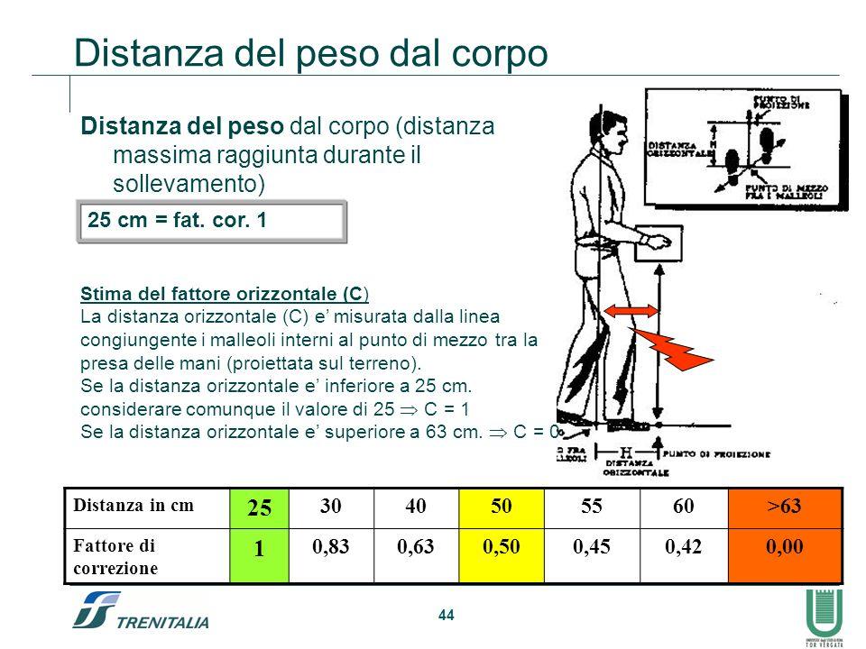 44 Distanza del peso dal corpo Distanza del peso dal corpo (distanza massima raggiunta durante il sollevamento) Distanza in cm 25 3040505560>63 Fattor