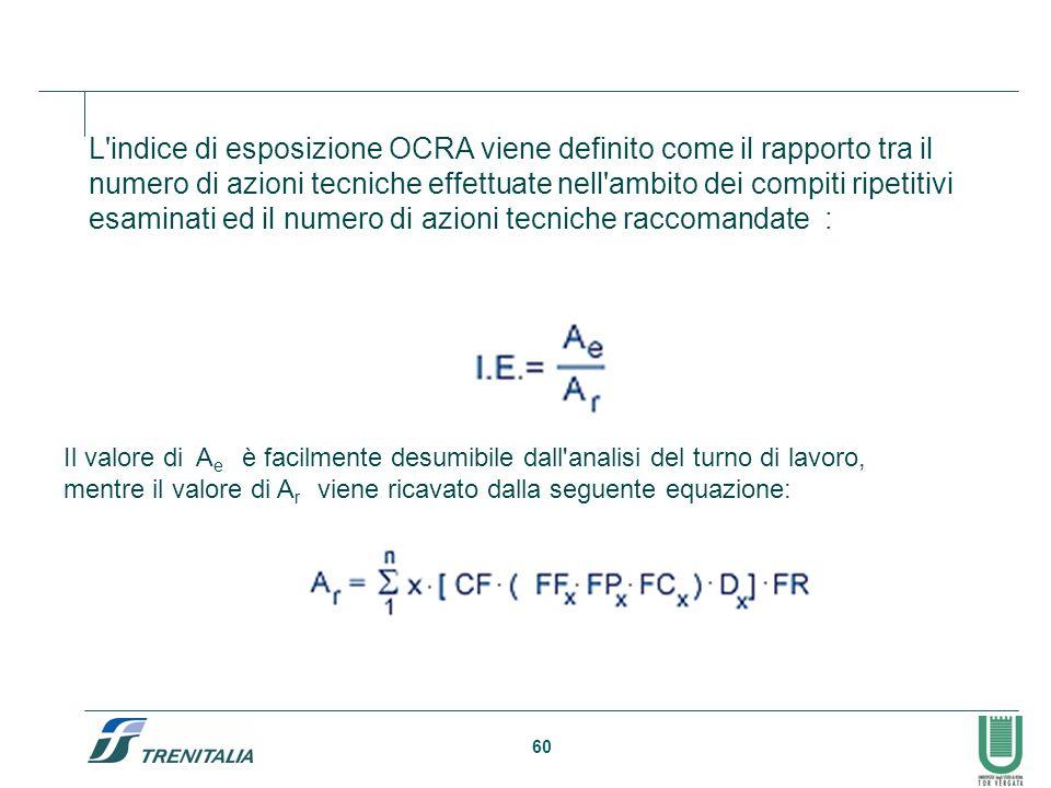 60 L'indice di esposizione OCRA viene definito come il rapporto tra il numero di azioni tecniche effettuate nell'ambito dei compiti ripetitivi esamina