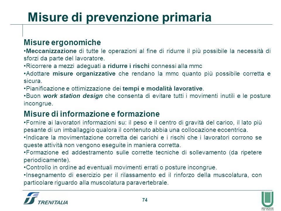 74 Misure di prevenzione primaria Misure ergonomiche Meccanizzazione di tutte le operazioni al fine di ridurre il più possibile la necessità di sforzi
