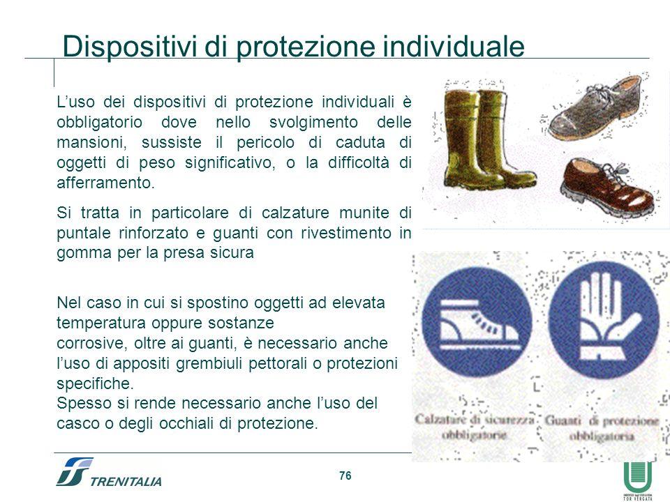 76 Dispositivi di protezione individuale Luso dei dispositivi di protezione individuali è obbligatorio dove nello svolgimento delle mansioni, sussiste