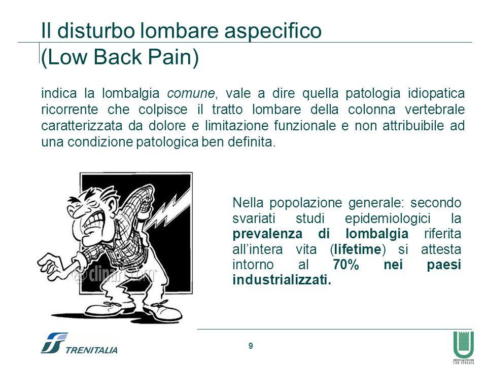 9 Il disturbo lombare aspecifico (Low Back Pain) Nella popolazione generale: secondo svariati studi epidemiologici la prevalenza di lombalgia riferita