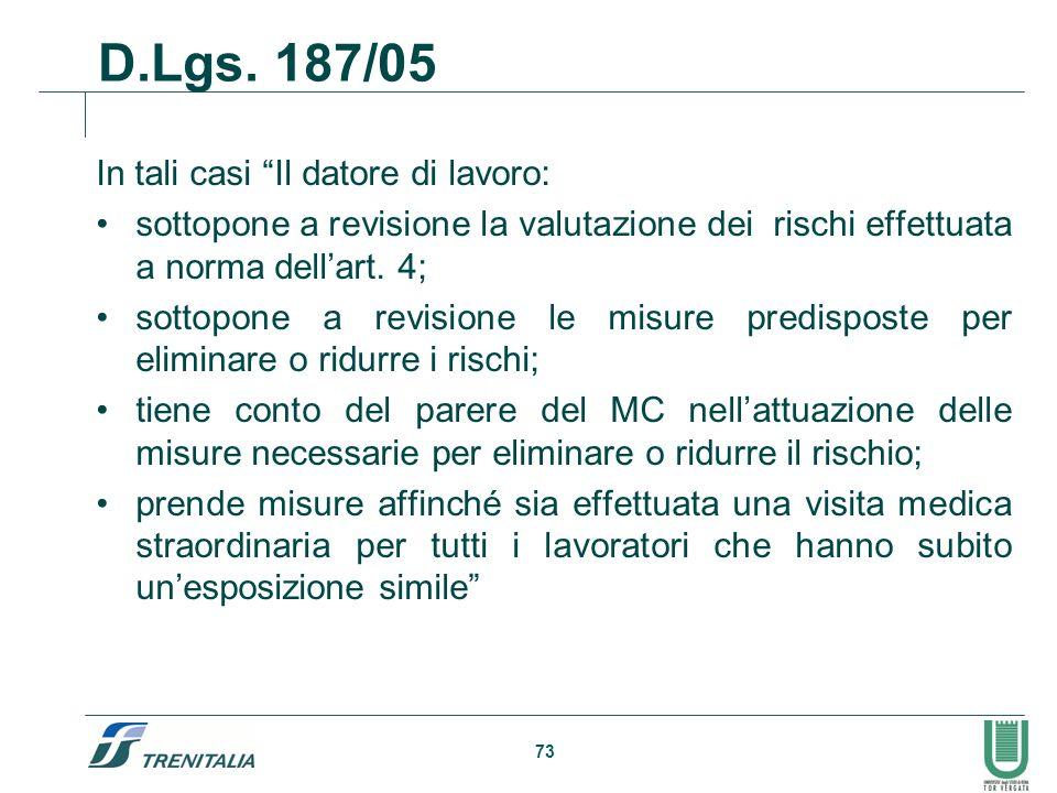73 In tali casi Il datore di lavoro: sottopone a revisione la valutazione dei rischi effettuata a norma dellart. 4; sottopone a revisione le misure pr