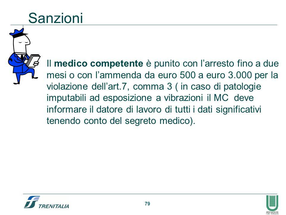 79 Sanzioni Il medico competente è punito con larresto fino a due mesi o con lammenda da euro 500 a euro 3.000 per la violazione dellart.7, comma 3 (