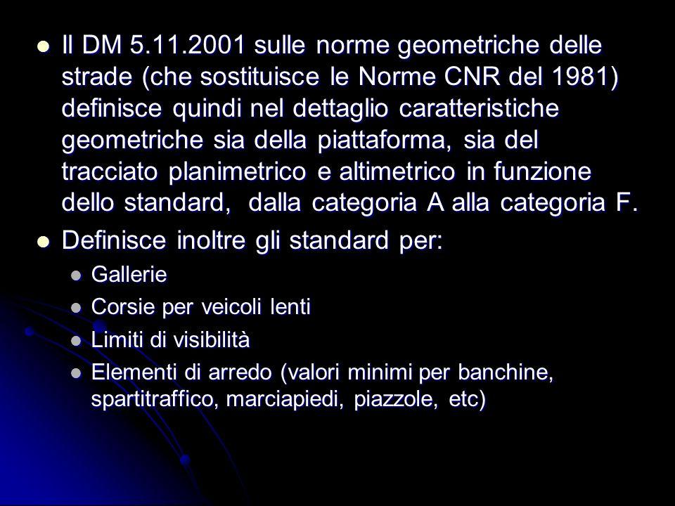Il DM 5.11.2001 sulle norme geometriche delle strade (che sostituisce le Norme CNR del 1981) definisce quindi nel dettaglio caratteristiche geometrich