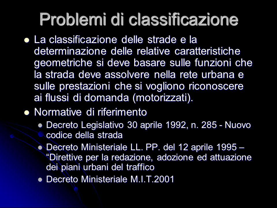 Problemi di classificazione La classificazione delle strade e la determinazione delle relative caratteristiche geometriche si deve basare sulle funzio