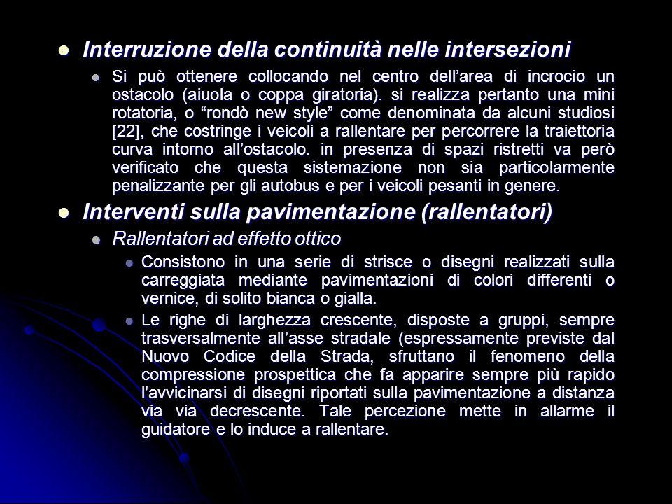 Interruzione della continuità nelle intersezioni Interruzione della continuità nelle intersezioni Si può ottenere collocando nel centro dellarea di in