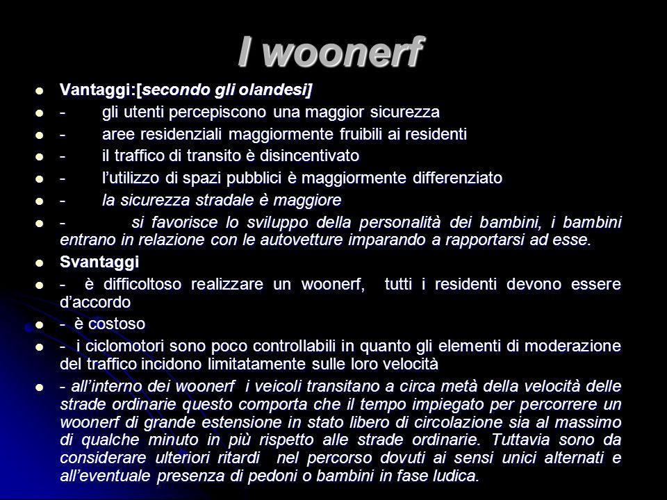 I woonerf Vantaggi:[secondo gli olandesi] Vantaggi:[secondo gli olandesi] - gli utenti percepiscono una maggior sicurezza - gli utenti percepiscono un