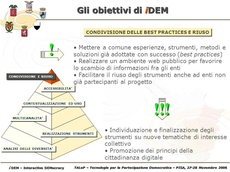 TALeP – Tecnologie per la Partecipazione Democratica – PISA, 27-28 Novembre 2006 i DEM – Interactive DEMocracy Come opera iDEM Ovvero attività la cui attuazione interessa da subito tutti i partner di progetto e che saranno attuate da gruppi di lavoro congiunti ed unici per lintero partenariato.