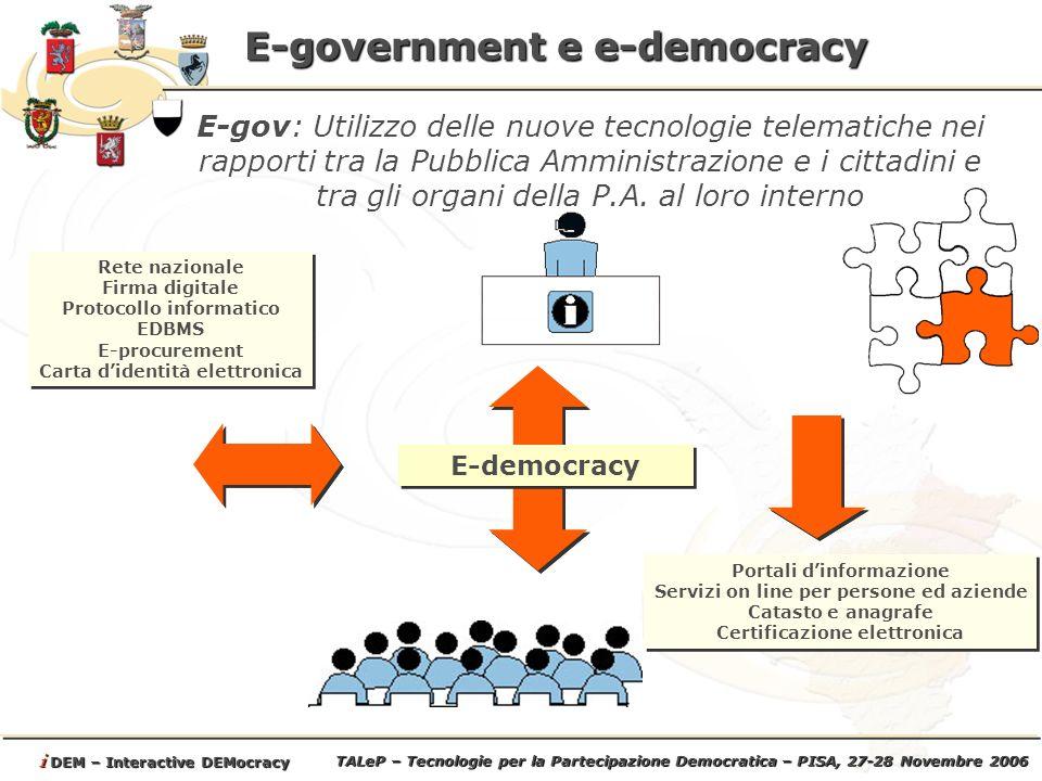 TALeP – Tecnologie per la Partecipazione Democratica – PISA, 27-28 Novembre 2006 i DEM – Interactive DEMocracy E-government e e-democracy E-gov: Utilizzo delle nuove tecnologie telematiche nei rapporti tra la Pubblica Amministrazione e i cittadini e tra gli organi della P.A.