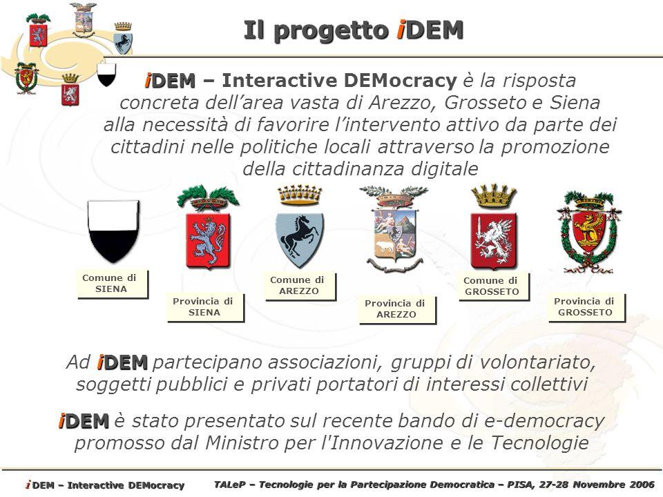 TALeP – Tecnologie per la Partecipazione Democratica – PISA, 27-28 Novembre 2006 i DEM – Interactive DEMocracy Gli obiettivi di iDEM ANALISI DELLE DIVERSITA E DELLE POLITICHE DI RIFERIMENTO ANALISI DELLE DIVERSITA Avviare un dialogo comune volto ad individuare le politiche locali atte a favorire processi di cittadinanza digitale Emersione e definizione dei problemi specifici locali e relativi allintera area Definizione dei processi e delle regole di partecipazione attraverso le opportunità offerte dalle ICT.