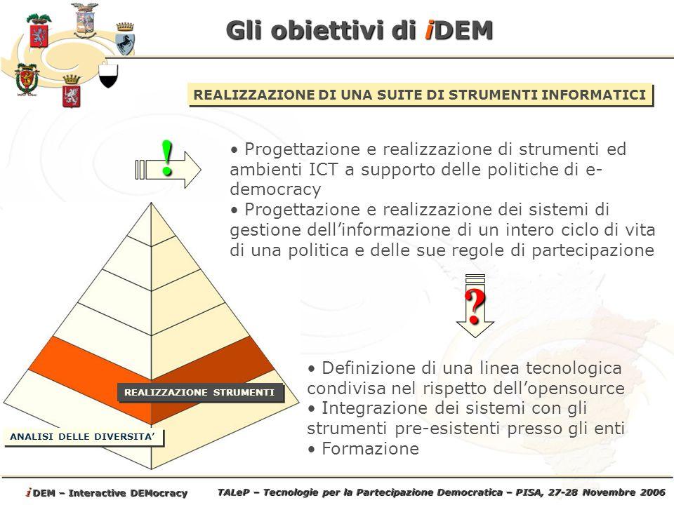 TALeP – Tecnologie per la Partecipazione Democratica – PISA, 27-28 Novembre 2006 i DEM – Interactive DEMocracy Gli obiettivi di iDEM REALIZZAZIONE DI UNA SUITE DI STRUMENTI INFORMATICI Progettazione e realizzazione di strumenti ed ambienti ICT a supporto delle politiche di e- democracy Progettazione e realizzazione dei sistemi di gestione dellinformazione di un intero ciclo di vita di una politica e delle sue regole di partecipazione.