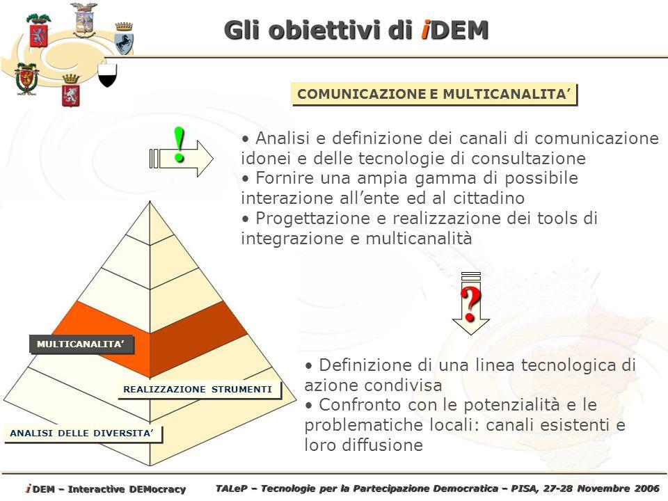 TALeP – Tecnologie per la Partecipazione Democratica – PISA, 27-28 Novembre 2006 i DEM – Interactive DEMocracy Gli obiettivi di iDEM ANALISI DELLE DIVERSITA REALIZZAZIONE STRUMENTI MULTICANALITA COMUNICAZIONE E MULTICANALITA Analisi e definizione dei canali di comunicazione idonei e delle tecnologie di consultazione Fornire una ampia gamma di possibile interazione allente ed al cittadino Progettazione e realizzazione dei tools di integrazione e multicanalità.