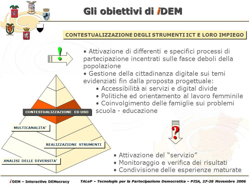 TALeP – Tecnologie per la Partecipazione Democratica – PISA, 27-28 Novembre 2006 i DEM – Interactive DEMocracy Gli obiettivi di iDEM ANALISI DELLE DIVERSITA REALIZZAZIONE STRUMENTI MULTICANALITA CONTESTUALIZZAZIONE DEGLI STRUMENTI ICT E LORO IMPIEGO Attivazione di differenti e specifici processi di partecipazione incentrati sulle fasce deboli della popolazione Gestione della cittadinanza digitale sui temi evidenziati fin dalla proposta progettuale: Accessibilità ai servizi e digital divide Politiche ed orientamento al lavoro femminile Coinvolgimento delle famiglie sui problemi scuola - educazione.
