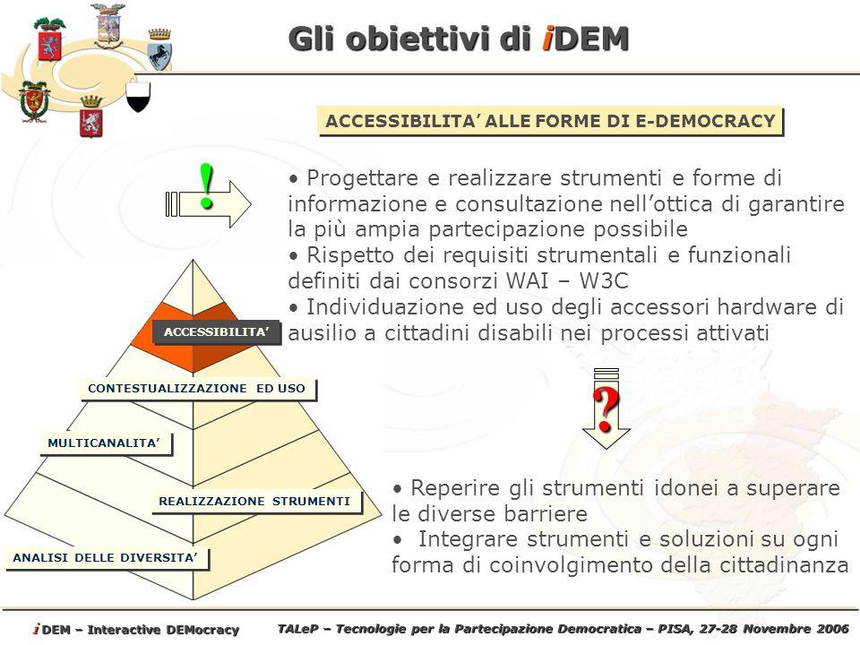 TALeP – Tecnologie per la Partecipazione Democratica – PISA, 27-28 Novembre 2006 i DEM – Interactive DEMocracy Gli obiettivi di iDEM ANALISI DELLE DIVERSITA REALIZZAZIONE STRUMENTI MULTICANALITA ACCESSIBILITA CONDIVISIONE DELLE BEST PRACTICES E RIUSO Mettere a comune esperienze, strumenti, metodi e soluzioni già adottate con successo (best practices) Realizzare un ambiente web pubblico per favorire lo scambio di informazioni fra gli enti Facilitare il riuso degli strumenti anche ad enti non già partecipanti al progetto.