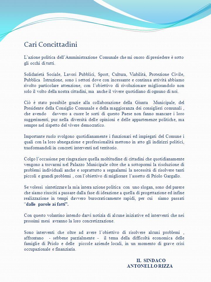 Cari Concittadini Lazione politica dellAmministrazione Comunale che mi onoro di presiedere è sotto gli occhi di tutti. Solidarietà Sociale, Lavori Pub