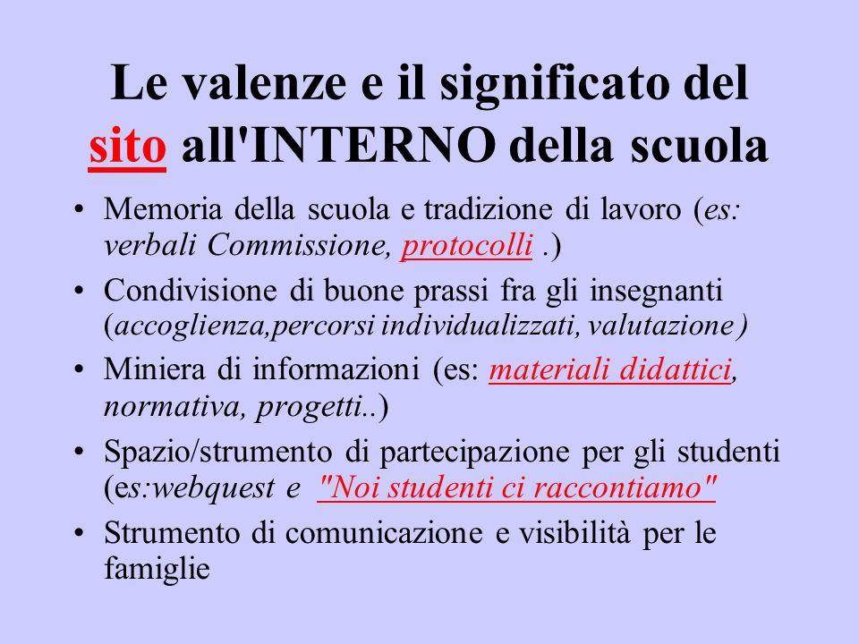 Le valenze e il significato del sito all'INTERNO della scuola sito Memoria della scuola e tradizione di lavoro (es: verbali Commissione, protocolli.)p