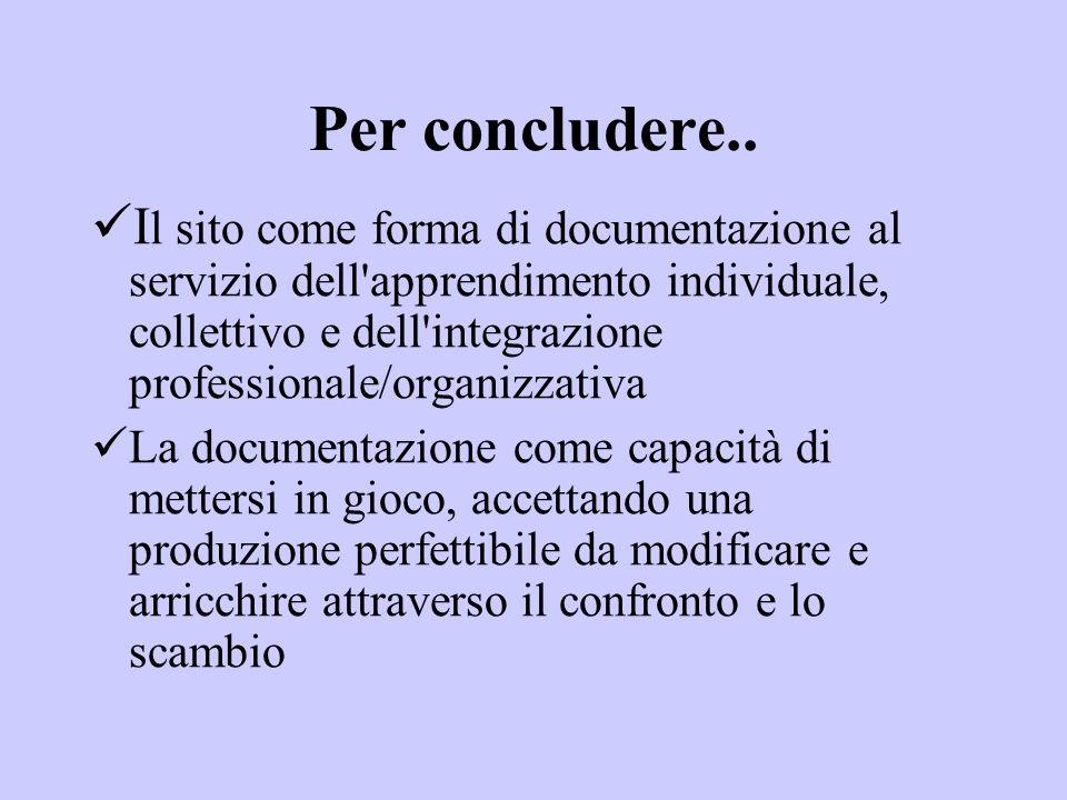 Per concludere.. I l sito come forma di documentazione al servizio dell'apprendimento individuale, collettivo e dell'integrazione professionale/organi