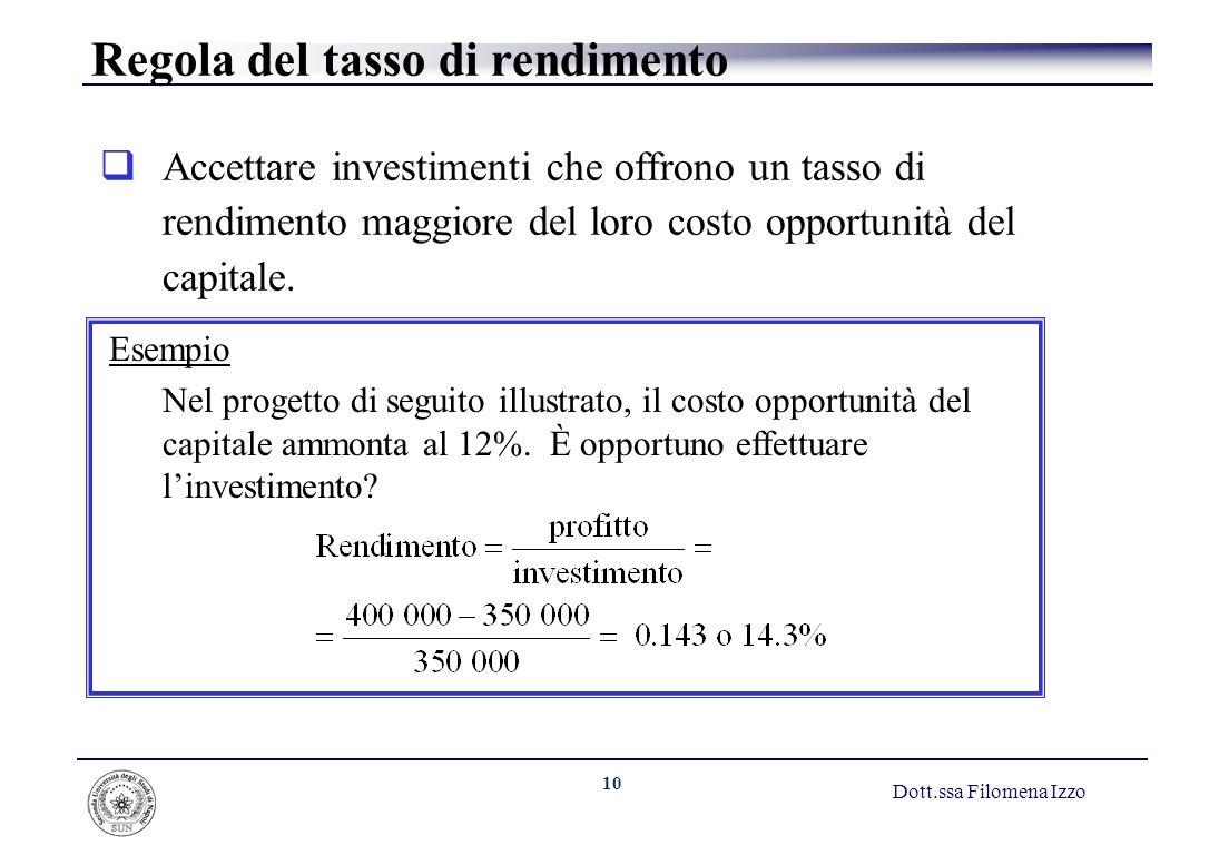 10 Dott.ssa Filomena Izzo Regola del tasso di rendimento Accettare investimenti che offrono un tasso di rendimento maggiore del loro costo opportunità